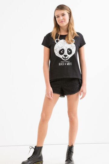 100% cotton Teen T-shirt with patch, Black, hi-res