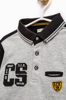 100% cotton polo shirt with patch, Black/Grey, hi-res
