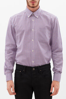 Slim fit oxford check shirt, White/Blue/Red, hi-res