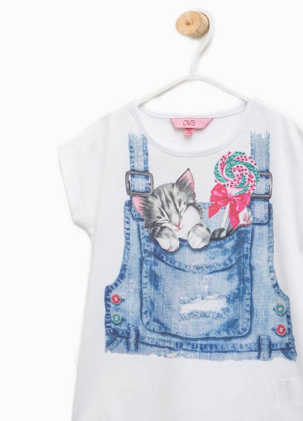Cotton T-shirt with print and diamantés   OVS