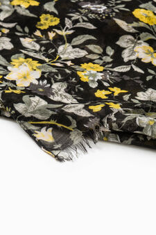 Floral print scarf, Black/Yellow, hi-res