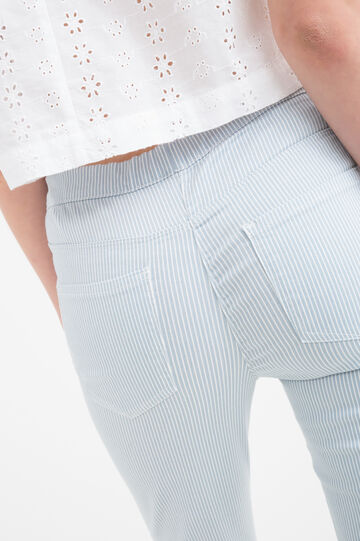 Stretch patterned Capri trousers, White/Light Blue, hi-res