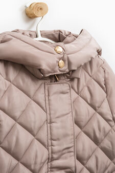Solid colour jacket with hood, Beige, hi-res