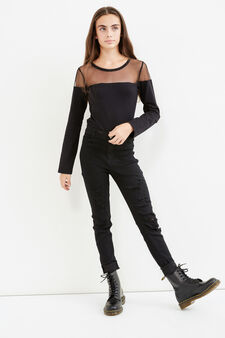 Teen stretch cotton bodysuit with diamanté design, Black, hi-res