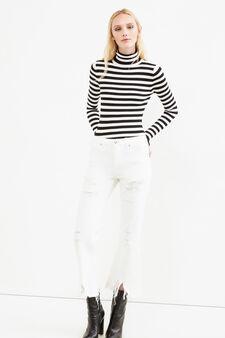 Jeans stretch strappati tinta unita, Bianco, hi-res