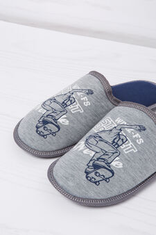 Slipper with print in contrasting colour, Grey, hi-res