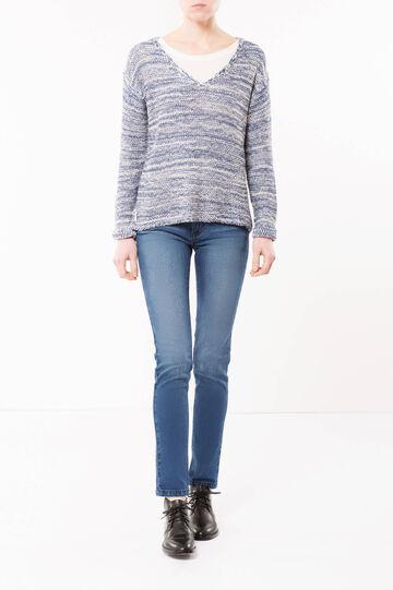 Two-tone V-neck sweater, Denim, hi-res