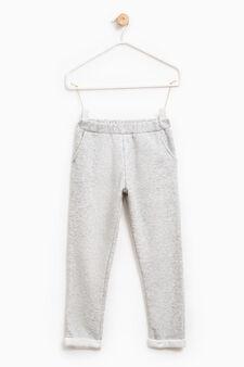 Pantaloni tinta unita puro cotone, Grigio melange, hi-res