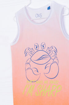 Degradé vest top in 100% cotton, White/Orange, hi-res