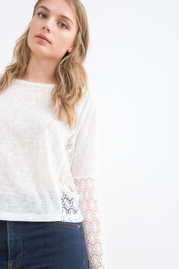 Solid colour T-shirt with lace inserts, White, hi-res