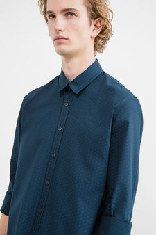 Slim-fit casual shirt with pattern, Light Blue, hi-res
