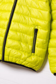 Quilted down jacket with hood, Acid Green, hi-res