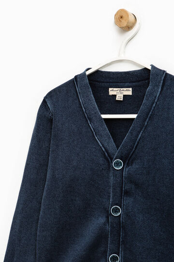Cardigan with V-neck and ribbing