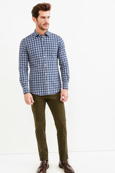 Slim-fit Rumford shirt with tartan pattern, Blue/Grey, hi-res