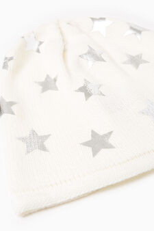 Knitted beanie cap with stars, Blue, hi-res
