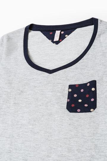 V-neck cotton pyjama top, Grey Marl, hi-res