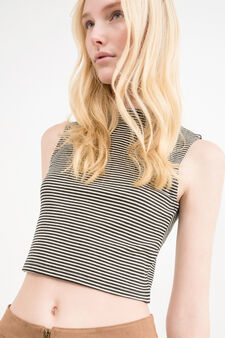 High-neck stretch top with striped pattern, Black, hi-res