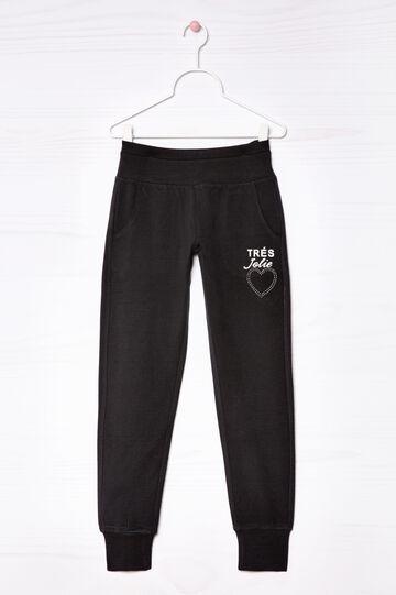 Stretch cotton joggers, Black, hi-res