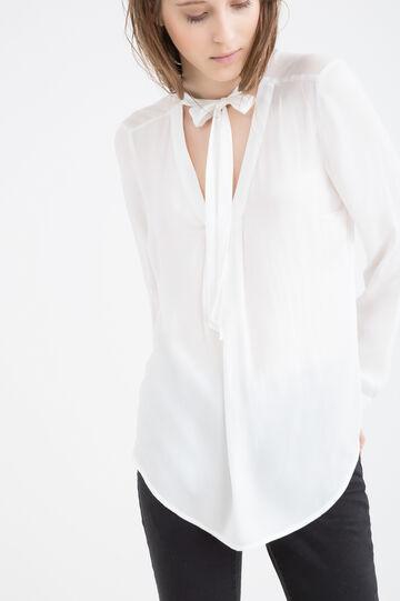 Blusa tinta unita con lacci al collo, Bianco latte, hi-res