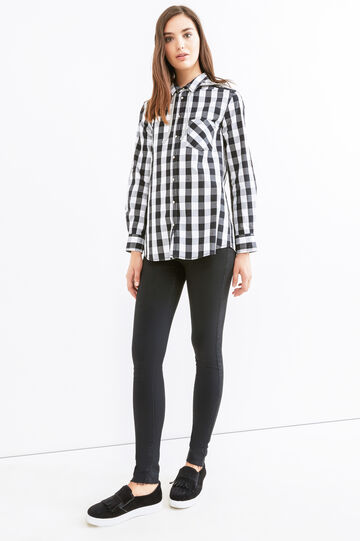 Checked shirt with hood., White/Black, hi-res