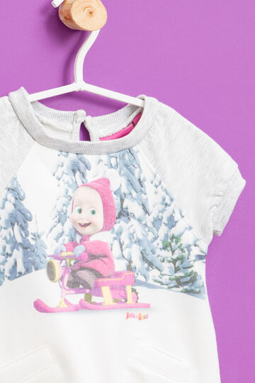 Dress with Masha and the Bear print, Milky White, hi-res