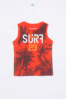 100% cotton printed vest, Orange, hi-res