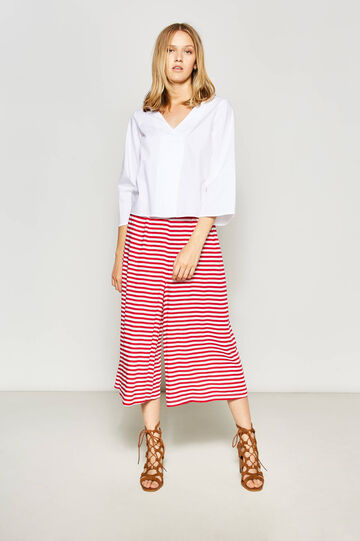 Striped viscose gaucho trousers