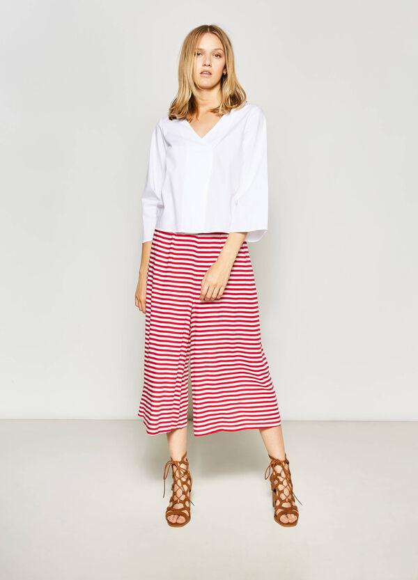 Striped viscose gaucho trousers | OVS