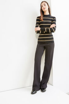 Striped cotton and wool blend pullover, White/Black, hi-res