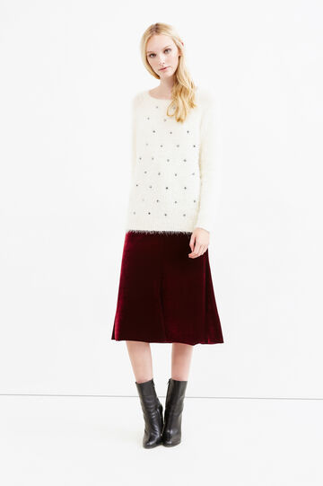 Knitted star pattern pullover, White/Black, hi-res