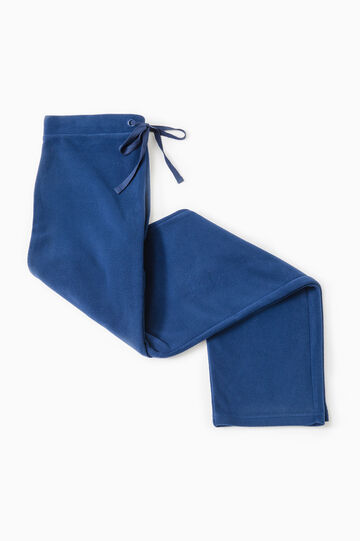 Solid colour pyjama trousers in fleece, Navy Blue, hi-res