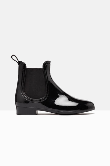 Patent boots with elastic bands, Black, hi-res