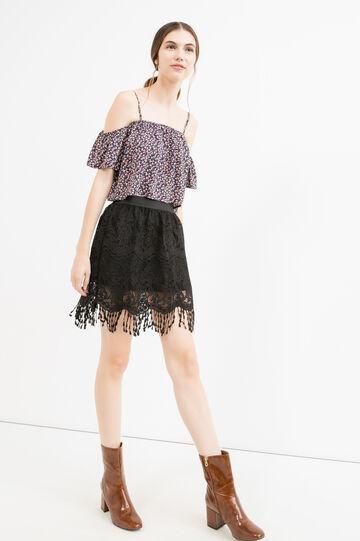 High waist openwork skirt, Black, hi-res