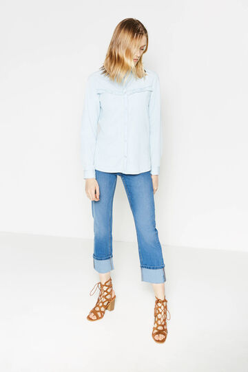 Slim-fit stretch crop jeans with turned-up hems, Denim, hi-res