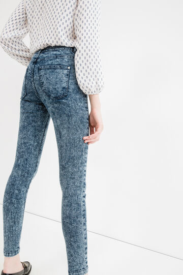 Misdyed-effect jeans with zip, Medium Wash, hi-res
