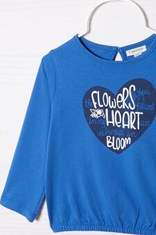 T-shirt puro cotone con stampa , Blu, hi-res