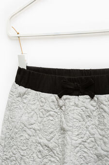 Cotton trousers with floral weave, Grey Marl, hi-res