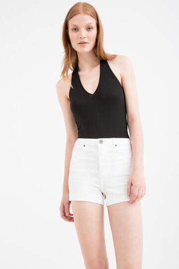 Solid colour stretch viscose bodysuit, Black, hi-res