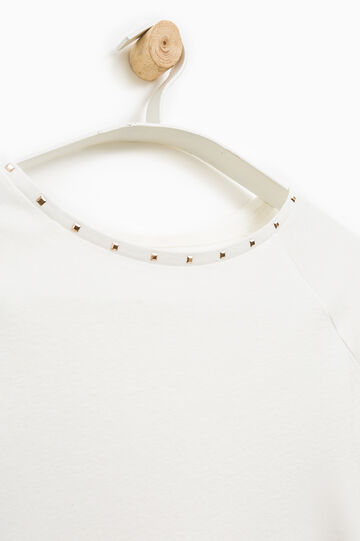 Smart Basic T-shirt with studs, White, hi-res