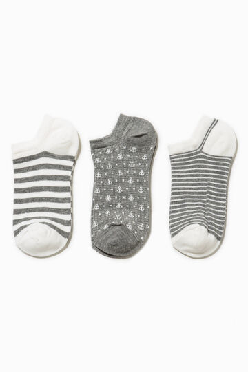 Three-pack short patterned socks, White/Grey, hi-res