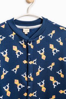 Tuta pigiama cotone stampa renne, Blu, hi-res