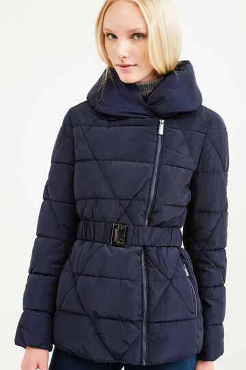 Down jacket with high neck and belt, Navy Blue, hi-res