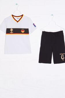 Cotton outfit with UEFA Euro 2016 print, White/Black, hi-res