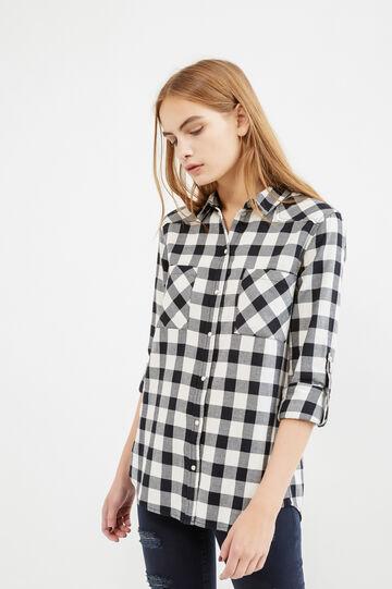 Camicia casual cotone fantasia tartan, Bianco/Nero, hi-res