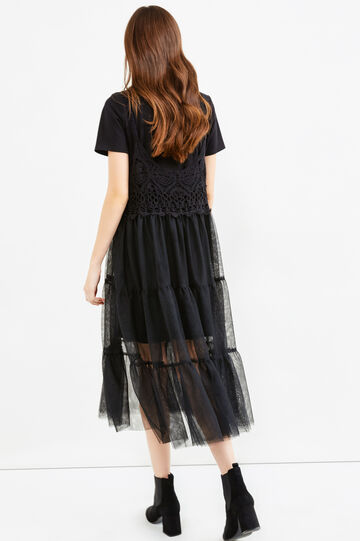 Long dress with long T-shirt underneath, Black, hi-res