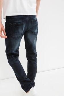 Worn-effect skinny-fit stretch jeans, Dark Wash, hi-res