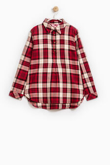 Check patterned shirt in 100% cotton, Red, hi-res