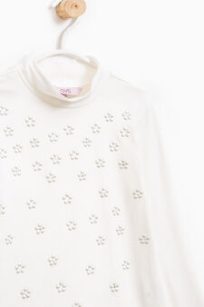 Stretch cotton diamanté T-shirt, White, hi-res