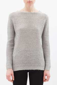 Sequin knit pullover, White/Grey, hi-res