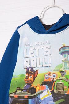 Printed hoodie in 100% cotton, Grey/Blue, hi-res
